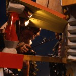 Kent Burton animates Pee-wee on his playhouse deck.